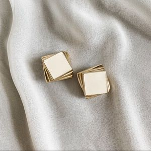 Vintage Gold Cream Layered Square Modern Earrings